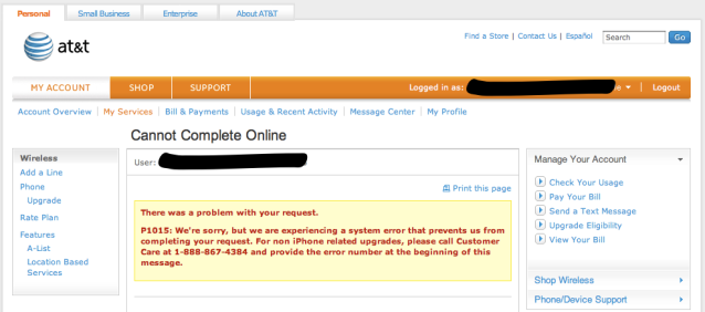 AT&T Online System Collapses