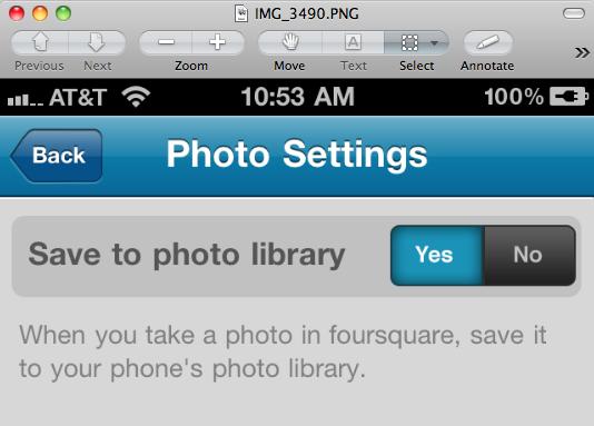 Foursquare Photo Settings
