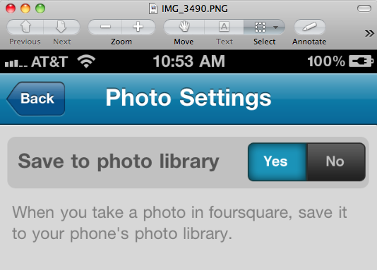 Foursquare Photo Settings