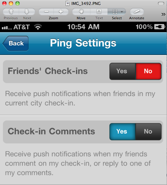 Foursquare Ping Settings