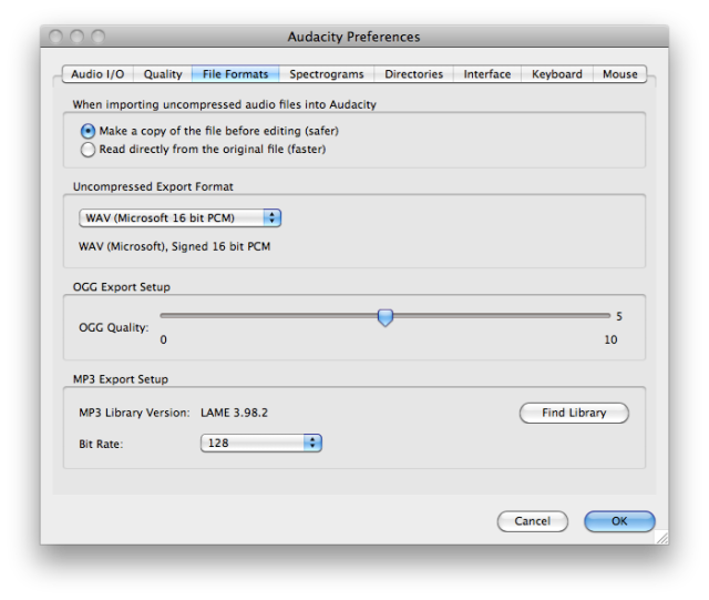 Audacity MP3 Preferences - Settings