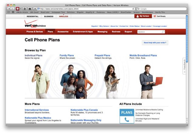Verizon Cellphone Plans