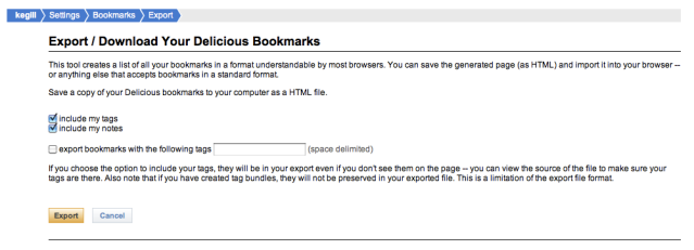 How To Export Delicious Bookmarks