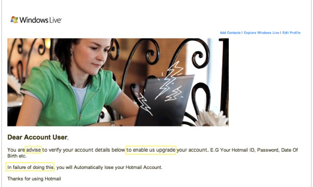 hotmail phishing