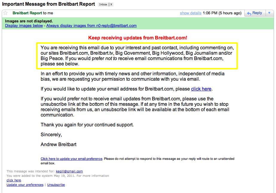 breitbart spam