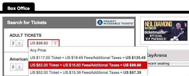 AEG - KeyArena, Neil Diamond Ticket Fees
