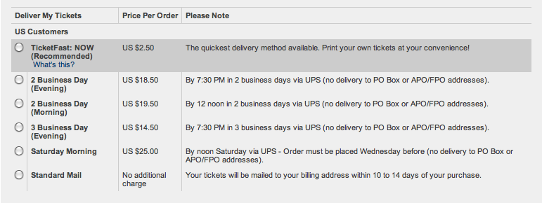 ticketmaster delivery fees