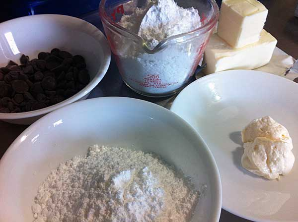 ingredients for chocolate icing