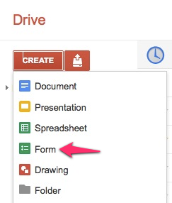 Create new google form